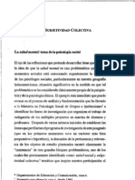 Salud social y subjetividad colectiva