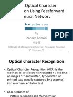 Urdu OCR using Feedforward Neural Networks Thesis Presentation 5-2-09