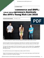 Tech entrepreneurs dominate the AFR's Young Rich List 2020