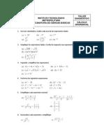 Taller Diagnóstico Cálculo Diferencial