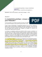 Dossier Manipulation génétique