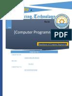 UET Taxila Computer Programming Lab Assignment