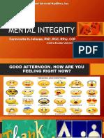 Mental Integrity - Ms. Carmencita Salonga, PhD