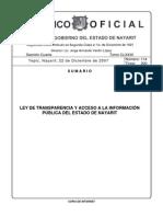 Ley de Trans Par en CIA y Acceso a La ion Del Estado de Nayarit