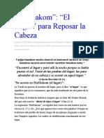 """""""El Lugar"""" para Reposar la Cabeza"""