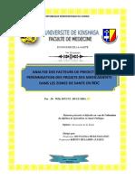 MEMOIRE DE SPECIALISATION EN SANTE PUBLIQUE. Economie de la Santé. Dr Willy MFUNI MULUMBA