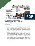 II Seminario de Marketing Político en Manta, Ecuador. 1 y 2 de Abril