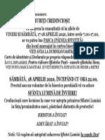 ANUNT PASCA SI LUMINA DE SF. PAŞTI 2020  pt parohii cu case