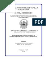 INTELIGENCIA EMOCIONAL Y RESILIENCIA EN ESTUDIANTES UNIVERSITARIOS 2015