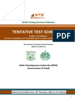 MDA STS Test Schedule