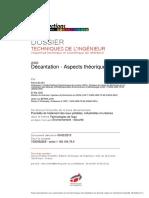 Décantation -Aspects théoriques-