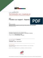 Filtration sur support -Aspects théoriques-