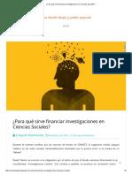 ¿Para qué sirve financiar investigaciones en Ciencias Sociales_