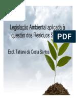 São Paulo - Legislação Ambiental aplicada à questão dos Resíduos Sólidos