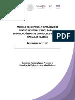 SEGOB - Modelo conceptual y operativo de Centros especializados para la erradicación de las conductas violentas hacia las mujeres
