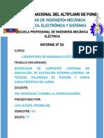 INFORME Nº 03 GENERADOR DE CORRIENTE CONTINUA EN DERIVACIÓN, DE EXCITACIÓN EXTERNA-CONTROL DE TENSIÓN, POLARIDAD DE TENSIÓN Y CURVA CARACTERÍSTICA DE CARGA.