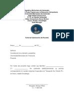 Carta culinacion de pasantias