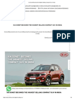 Kia Sonet Becomes the Highest Selling Compact Suv in India