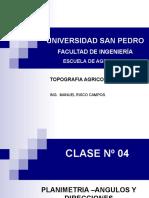 CLASE 04 - PLANIMETRIA -MEDIDA DE ANGULOS Y DIRECCCIONES