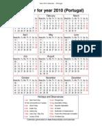 Year 2010 Calendar – Portugal