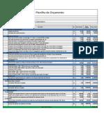 1. Planilha de orçamento de serviços