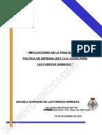 FINALIDAD DE LA POLÍTICA DE DEFENSA, IMPLICACIONES 2