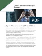 Cómo se fijan las indemnizaciones por Mala Praxis médica
