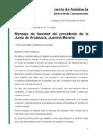 Mensaje de fin de año del Presidente de la Junta de Andalucía