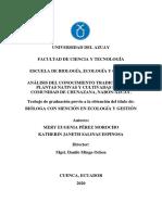 ANÁLISIS DEL CONOCIMIENTO TRADICIONAL DE PLANTAS NATIVAS Y CULTIVADAS EN LA COMUNIDAD DE CHUNAZANA, NABÓN-AZUAY.