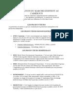 PRESENTATION DU MARCHE EXISTENT AU CAMEROUN
