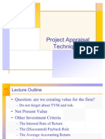 Project Appraisal Techniques