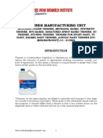 PROJECT REPORT ON THINNER MANUFACTURING UNIT INCLUDING POLISH THINNER, METHANOL BASED, SYNTHETIC THINNER, MTO BASED, DENATURED SPIRIT BASED THINNER, NC THINNER, STOVING THINNER, THINNER FOR EPOXY PAINT, PU PAINT, ENAMEL PAINT THINNER, ACRYLIC PAINT THINNER ETC.