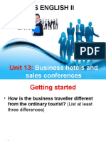 Unit 13 - Business hotels and sales conferences
