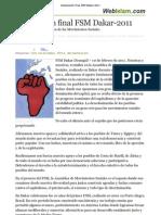(Declaración final FSM Dakar-2011) ASAMBLEA MOVIMIENTOS SOCIALES
