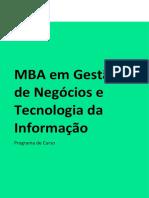 Programa de curso MBA em Gestão de Negócios e Tecnologia da Informação