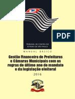 Direito Municipal - Gestão Financeira das Prefeituras e Câmaras de Vereadores - TCESP - 2016 - 116p