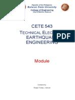 CETE 543 - Technical Elective 2 Earthquake Engineering, Module