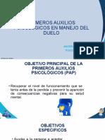 PRIMEROS AUXILIOS PSICOLOGICOS EN MANEJO DEL DUELO