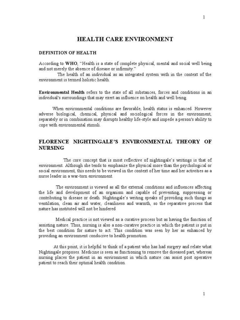 Health care environment | Policy | Nursing