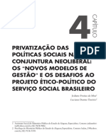 Privatização das politicas sociais e o neoliberalismo
