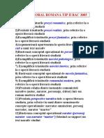 SUBIECTE ORAL ROMANA TIP II BAC 2005