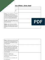 Film Body of work study sheet