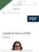 A gestão de riscos e a LGPD