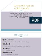 2010 How to critically read a medicine article