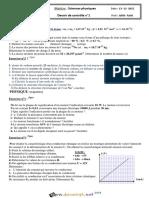 Devoir de Contrôle N°1 - Sciences physiques - 2ème Sciences (2015-2016) Mr Fathi Jelliti