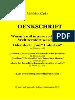 Köpke, Matthias - DENKSCHRIFT - Warum soll unsere natürliche Welt zerstört werden?, 8. erw. Auflage