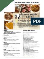 Menus de La Cuisine de Meme Moniq Du 25 Decembre Au 1er Janvier