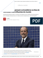 O que fazem e pensam os brasileiros na lista de cientistas mais influentes do mundo _ Ciência e Saúde _ G1