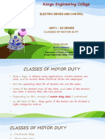 CLASSES OF MOTOR DUTY