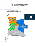 Mapa de Angola e Produto Interno Bruto de Cada Província